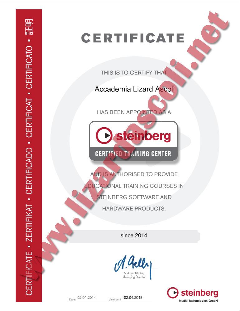 Accademia Lizard Ascoli Steinberg Certificate